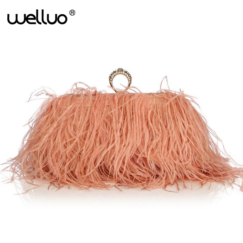 Designer Satin Ostrich Fur Feather Clutch Famous Brand Women Clutch Knuckle Rings Dinner Evening Bag Chain