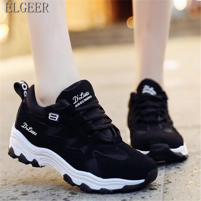 ELGEER Women movement Run shoes Fashion 2018 Spring New Breathable Shoes Wild Latform Sneakers Women Casual Shoes Feminino in Women 39 s Vulcanize Shoes from Shoes
