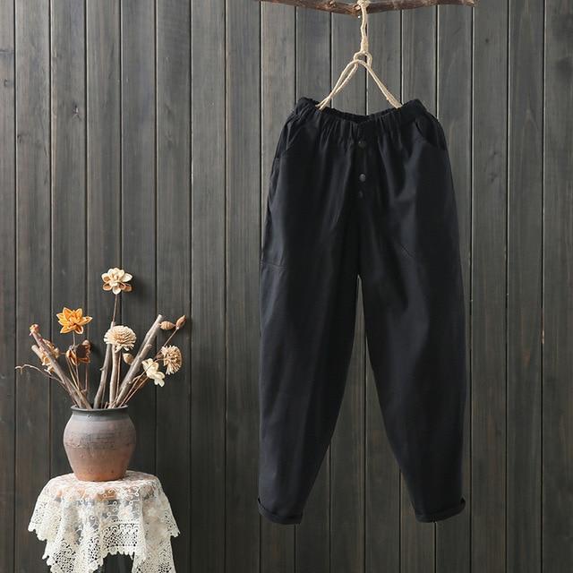 Johnature Casual Ankle-length Pants Loose Elastic Waist Solid Color Harem Pants 2019 New Summer Clothes Trousers Women Pants