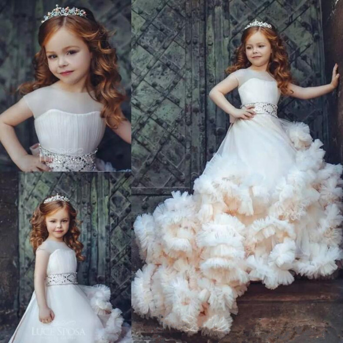 New Ruffled Flower Girl Dresses Special Occasion for Wedding Pleated Kids Pageant Dress Ball Gown Size 2-16Y 4pcs new for ball uff bes m18mg noc80b s04g