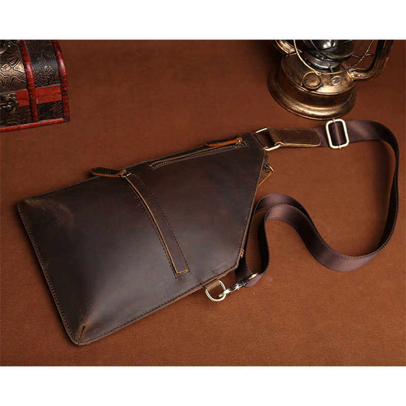 Kualitas Tinggi Satu Ransel Kulit Asli Vintage Desain Kuda Gila Kulit Sapi Pria Messenger Tas Selempang Dada