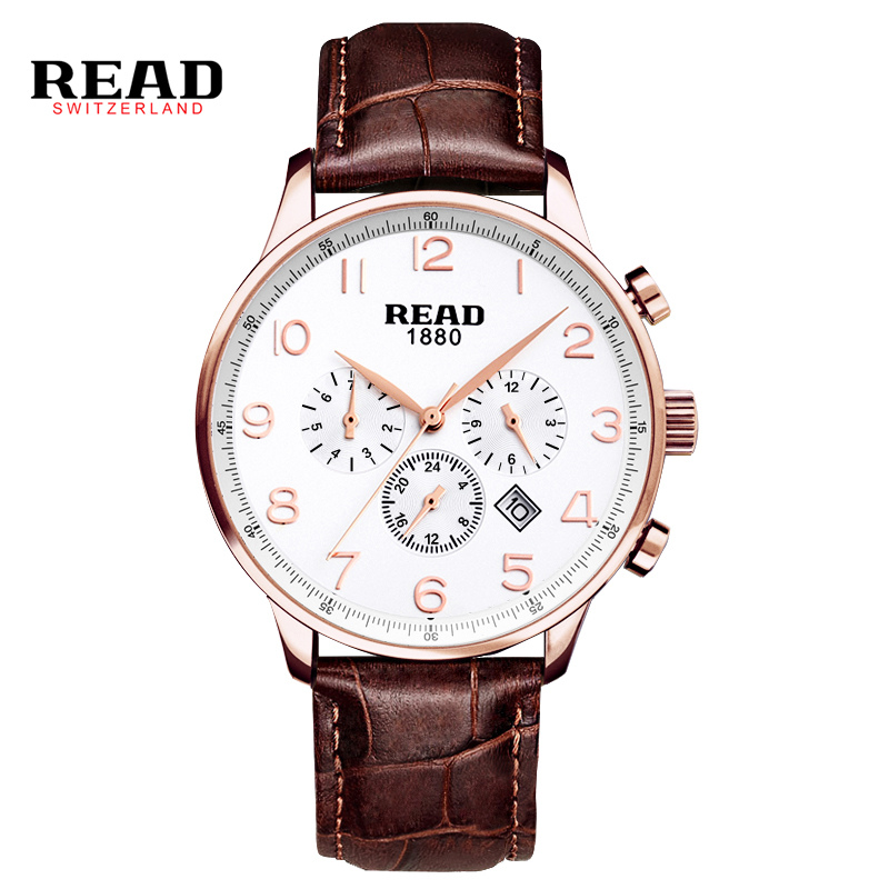 READ new fashion casual Large dial rose gold digital orologio uomo week calendar quartz sport watches for men leather strap 6081 цена