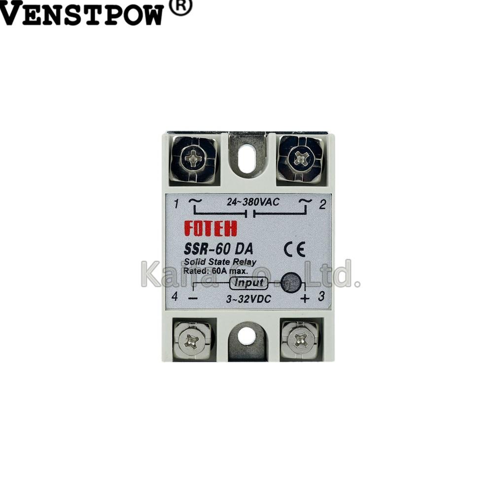 Solid State Relay SSR-60DA 60A 3-32VDC 24-380VAC SSR 10piece lot solid state relay ssr 60da 60a 250v 3 32vdc 24 380vac