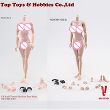 1/6 Scale Flexible Action Figure Female Body Action Figure Toy FX05B Middle Breast Body Doll Toys 2pcs p 1 6th white mini skirt strapless dress fit 12 phicen hotstuff big breast action figure flexible seamless body doll toys