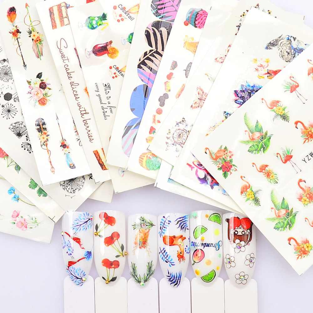 WUF 1 PC  Summer  Beauty Slider/Flower/Fruit Water Transfer Sticker Nail Art Decals DIY Fashion Wraps Tips Manicure Tools