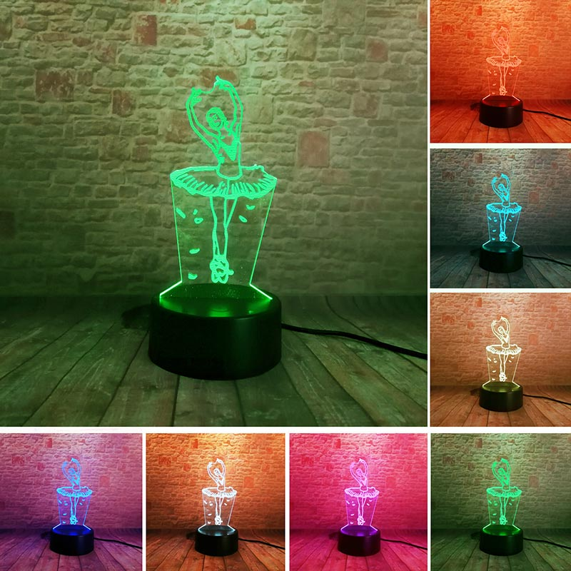 Ballet Dancing Girls Model 3D Illusion LED NightLight Colourful Flash Light Touch Desk Lamp Toys for Girls Birthday gift