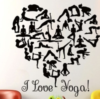 Yoga Vinyl Wall Sticker I Love Yoga Quote Gymnast Girl Yoga Poses Wall Sticker Fitness Centre