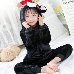 Image 5 - Combinaison Cosplay bleu enfant, Costume dhiver, motif lapin, Kigurumi, Anime, vêtements de nuit animaux, pyjamas, pour fille et garçon