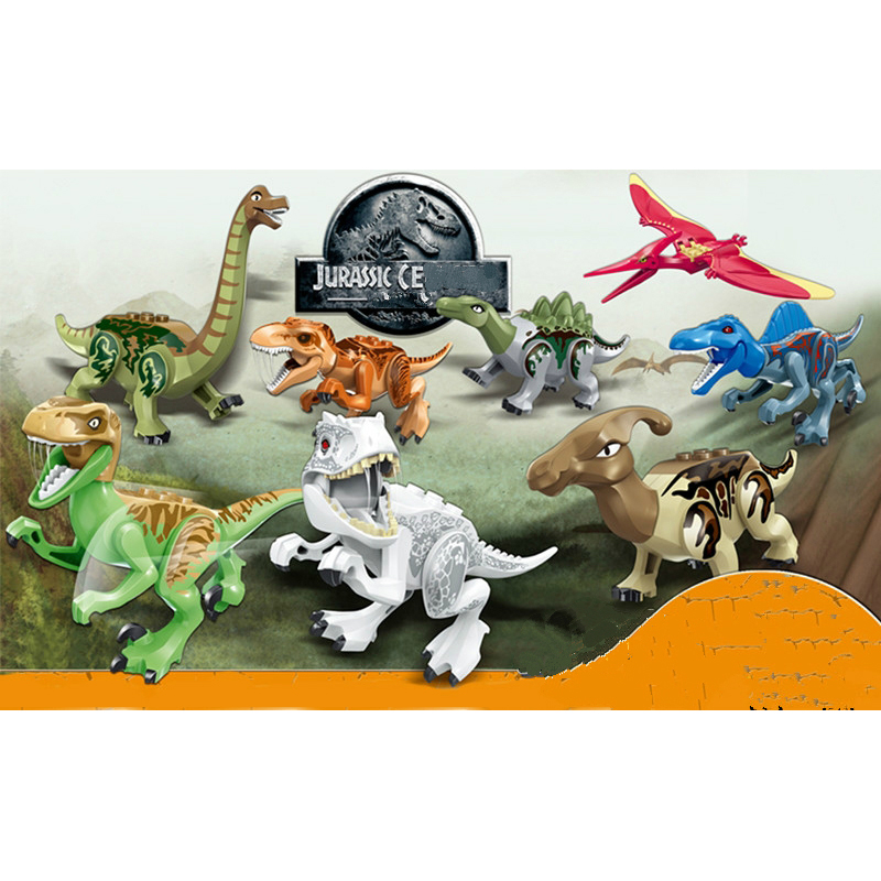 80pcs/set Jurassic World 2 Dinosaurs Figures Tanystropheus Tyrannosaurus Rex Building Block Toys Compatible Legoed Dinosaurs dinosaurs will die сноуборд dinosaurs will die genovese 157