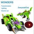 Promoção, Transformação do dinossauro som e iluminação do carro elétrico Multi-funcional Modelo de Robô brinquedos Para as crianças Presentes