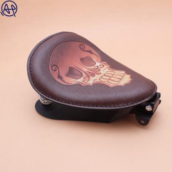 1x Motorcycle Brown Retro Leather Skull Logo Solo Saddle Seat + 3 Silver Spring Bracket Mounting Base for For Honda Shadow 750