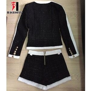 Image 4 - Yüksek kaliteli 2 iki parçalı Set kadınlar siyah beyaz kısa pantolon çift aslan düğme Blazer ceket şort kadın takım elbise sonbahar bez