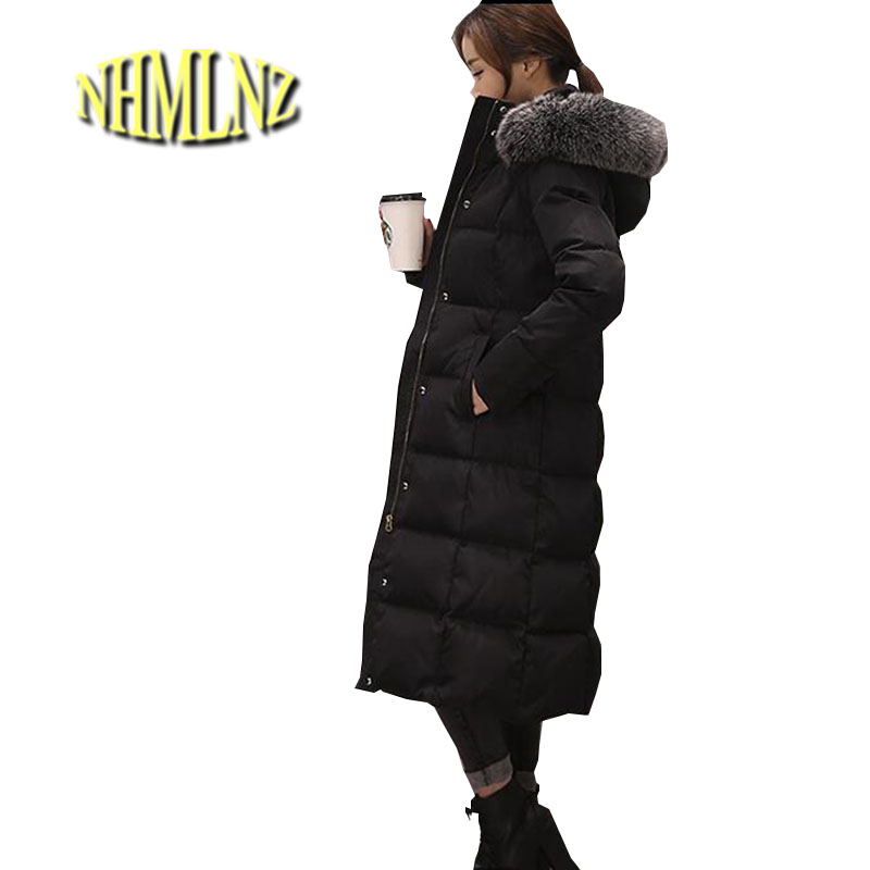 Women Winter Jacket 2017 Thick Warm Down cotton Overcoat Hooded Fur collar Long Coat New Style Plus size Fit Female Jacket ok273 cheap long straight human hair wig with full bangs silky straight brazilian full lace wig with bangs for fashion women