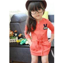 The girls clothes 2016 spring and autumn Dress new cartoon design 2-6 year old clothing /Dress/ fashion hot sale / D