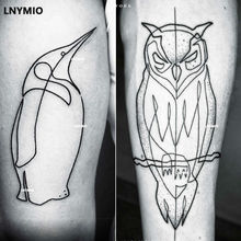 Tattoo Owl And Penguin Temporary Tattoo Sticker Black Line Style Man Cool Tattoo Animal