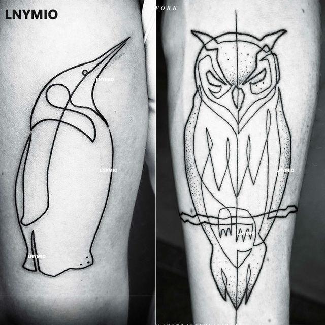 2 Pcs Baru Tato Owl Dan Garis Gaya Penguin Stiker Tato Temporer