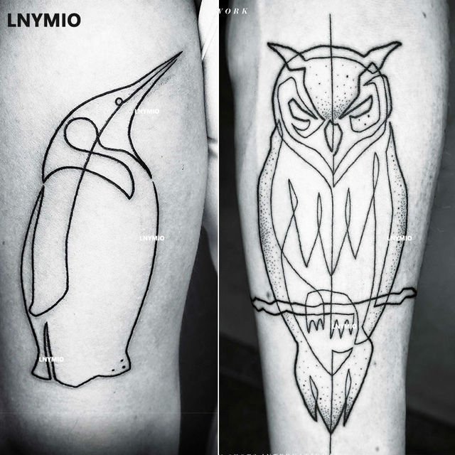 2 Pcs Nouveau Tatouage Hibou Et Pingouin Tatouage Temporaire