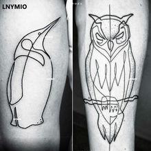 2pcs NEW tattoo owl and penguin temporary tattoo sticker black line style Man cool tattoo animal