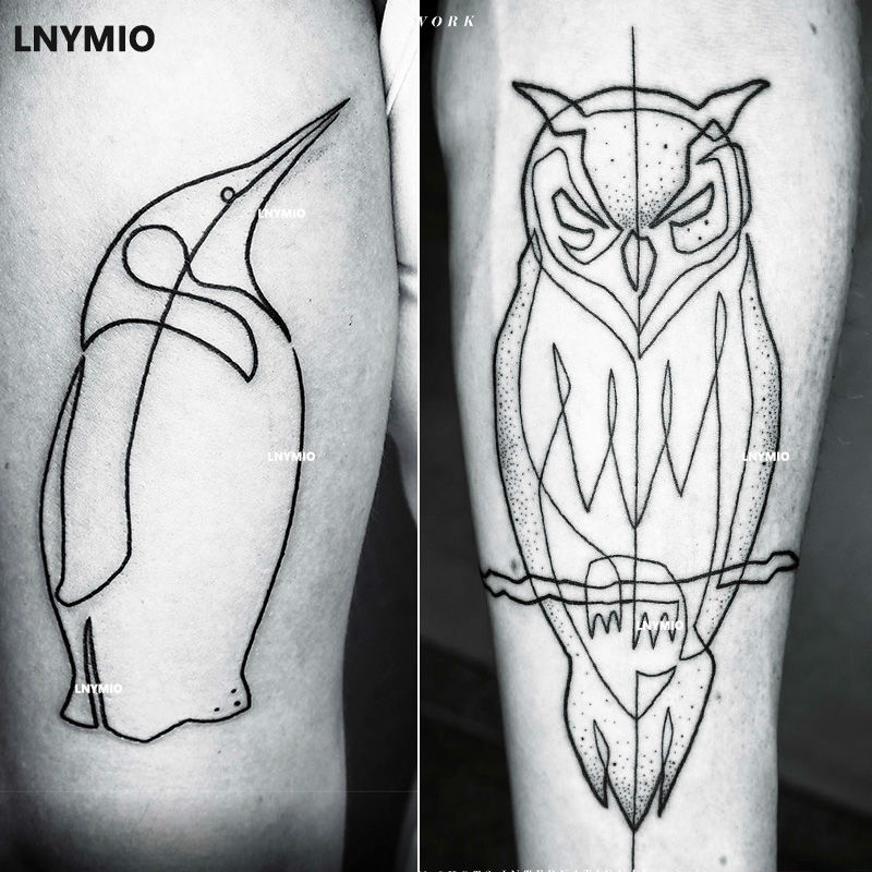 2st Nya tatuering uggla och pingvin tillfällig tatuering - Tatuering och kroppskonst - Foto 1