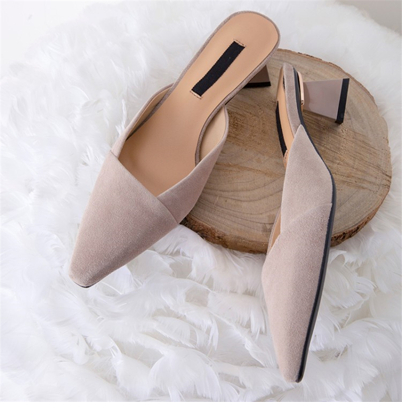 MSSTOR Strange Style Mules Shoes Women Pink Outdoor Pointed Toe Fashion Solid Sexy Summer Slippers Kid Suede High Heels Slippers
