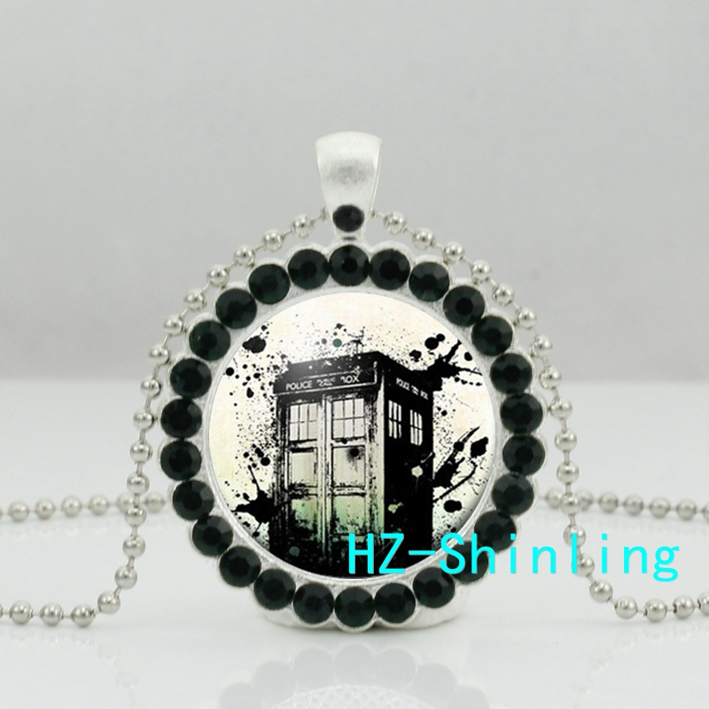 New Doctor Who Necklace Doctor Who Time Machine Crystal Pendant Jewelry Ball Chain Long Necklace HZ6