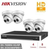 Hikvision CCTV Kits DS-7608NI-K2/8 P NVR 2SATA mit 8 POE ports Embedded Plug & Play 4K h.265 NVR + DS-2CD2385FWD-I 8MP IP Camra