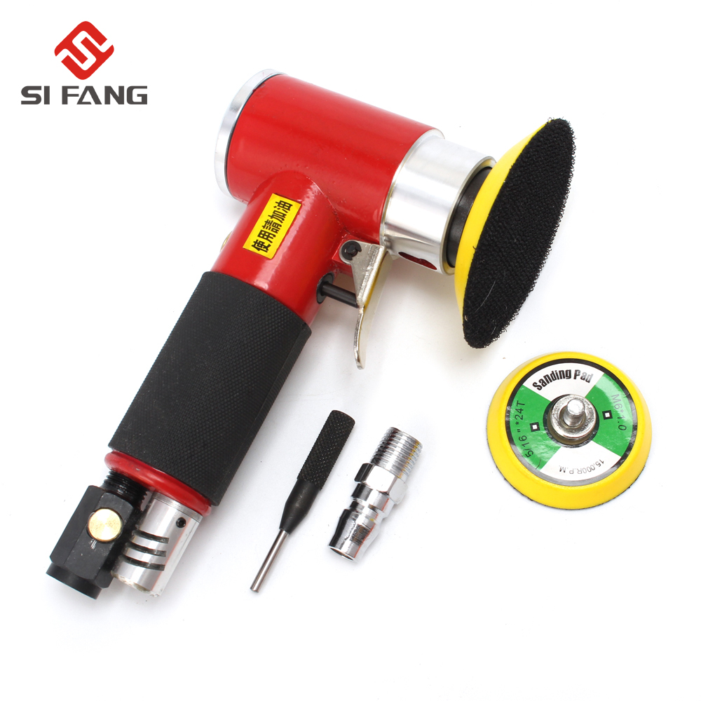 цена на Wholesale Mini Type Air Sander Kit Polisher for Car Pneumatic Air Tools Buffer Dual Action Orbital 50mm&75m Pad