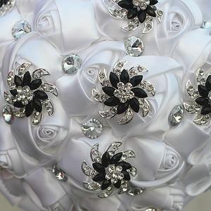 Image 5 - WifeLai A чистый белый цветок розы черный цвет Искусственный цветок свадебные букеты с кристаллами цветы на заказ