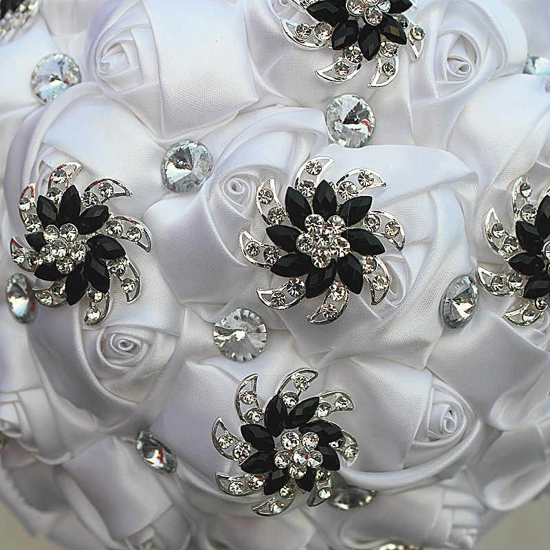 WifeLai-UN Bianco Puro Del Fiore della Rosa Nero Spilla Bouquet Da Sposa buque de noiva Nuziale di Cristallo Bouquet Da Sposa Fiori Su Misura