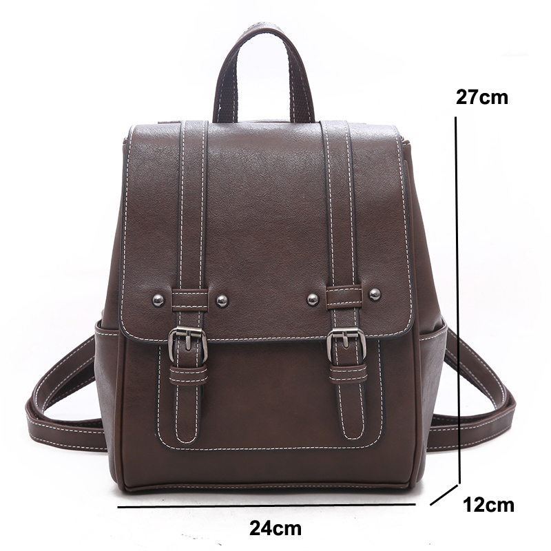 Image 5 - New Vintage Women Backpack High Quality Leather School Bags for Girls Lady Simple Style Backpack Fashion Leisure Pu Shoulder BagBackpacks   -