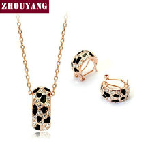 ZHOUYANG ZYS042 Golden Leopard Print  Rose Gold Plated Jewelry Necklace Earring Set Rhinestone Made with Austrian  Crystals
