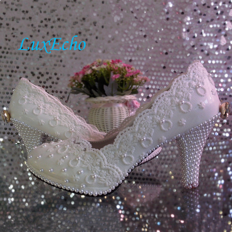 Lace flower wedding shoes woman high heeled platform shoe white pearl crystal bow bridal shoes bridesmaid