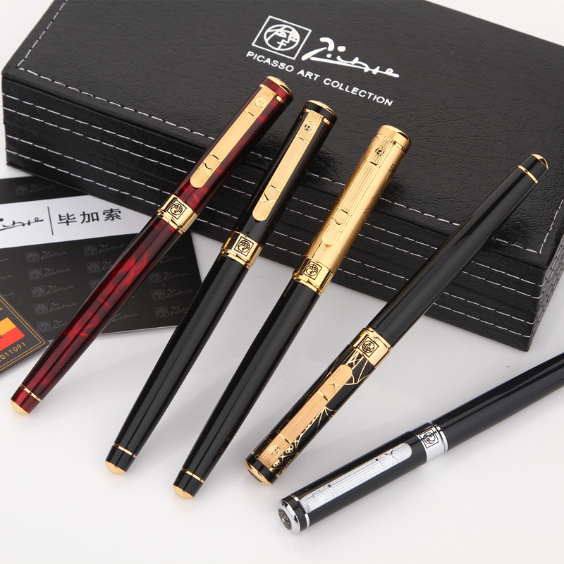 1pc/lot Picasso 902 Fountain Pen 5 Colors Options Black/Gold/Red Pen Gold/Silver Clip Nib 0.5mm Office Supplies 13.6*1.3cm italic nib art fountain pen arabic calligraphy black pen line width 1 1mm to 3 0mm