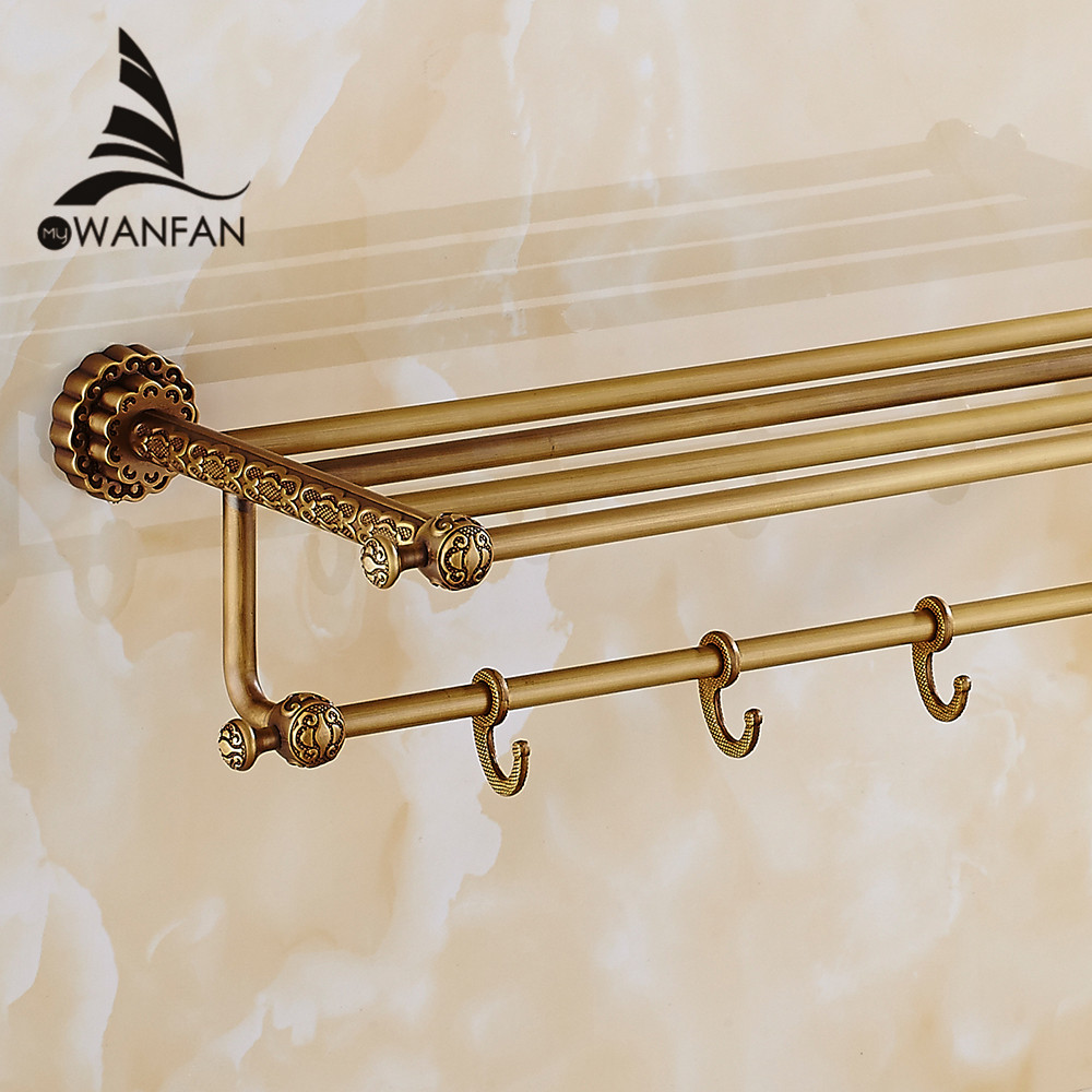 Bathroom Shelves Antique Brass Wall Shelf Towel Rack Bath Holder Towel Hangers Rack Carve Bathroom Accessories Towel Bars 10712F bathroom shelves 5 towel hooks brass 2 tier rails towel bars wall shelf bath hangers bathroom accessories towel holder fe 8601