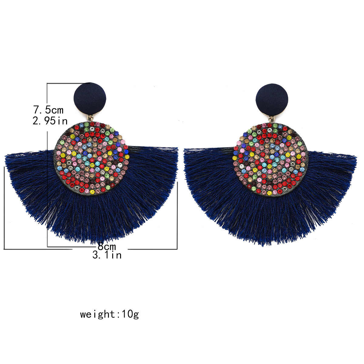 3.1*2.95 นิ้วพัดลมพู่ต่างหูโบฮีเมียนขนาดใหญ่แอฟริกันที่มีสีสัน Handmade คริสตัลต่างหูผู้หญิงเครื่องประดับอุปกรณ์เสริม