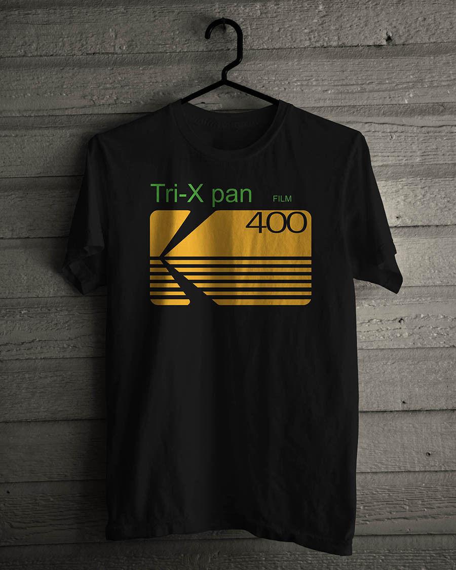 Kodak Tri-x Pan Professional Film Logo Black Cotton T-Shirt Mens Size S-3XL