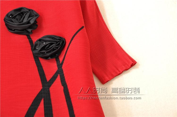 Fold Mode cou En O Solide Gratuite Vert chemise Court Miyake Sleevet Appliques Livraison rouge Stock t1qSw4BS