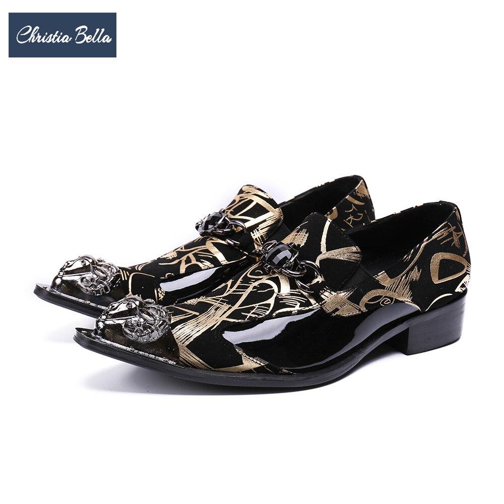 Christia Bella Designer mode en cuir véritable hommes robe chaussures or impression mariage fête chaussures formelles grande taille entreprise bureau chaussure