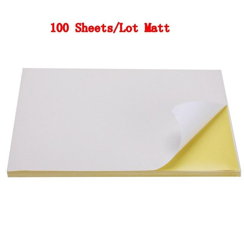 50/100 листа/уп наклейки для ногтей с много A4 глянцевой и матовой крафт клейкая Стикеры для лазерный струйный принтер копир ремесло Бумага самоклеющиеся Стикеры этикетка - Color: 100 sheets Matt