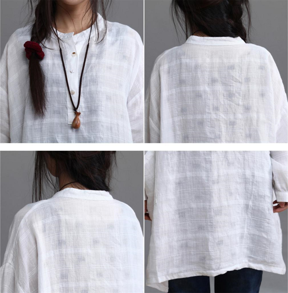 18c835a5e0d Yesno AB0 Women Button Up Tops Blouses Shirts Casual Loose Fit Maxi Big Pockets  100% Linen White-in Blouses   Shirts from Women s Clothing   Accessories on  ...