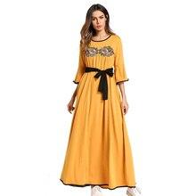 Повседневное Для женщин вышивка Макси платье свободные мусульманские Абаи длинный халат платья кимоно jubah Рамадан арабский Исламская молитва Костюмы
