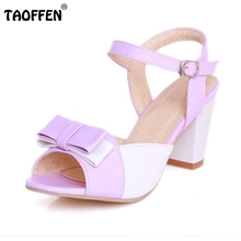 Size 32-47 Women High Heel Sandals Shoes Woman Mixed Color Peep Toe Bowknot Ladies Fashion Bow Women Dress Sweet Shoes PA00707