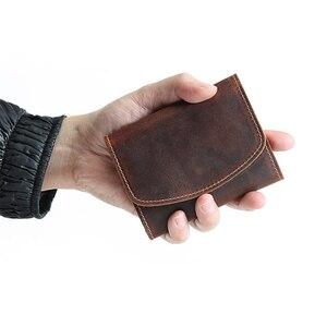 Image 2 - محفظة نسائية للعملات المعدنية الرجال محافظ جلد طبيعي حقيبة مزودة بسحّاب جيب سليم محفظة حامل بطاقة صغيرة تغيير الحقيبة الذكور Billfold