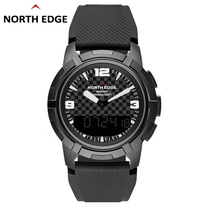 メンズ腕時計北エッジ男性スポーツウォッチステンレス鋼男性デュアルディスプレイ防水クォーツデジタル時計ミリタリー腕時計