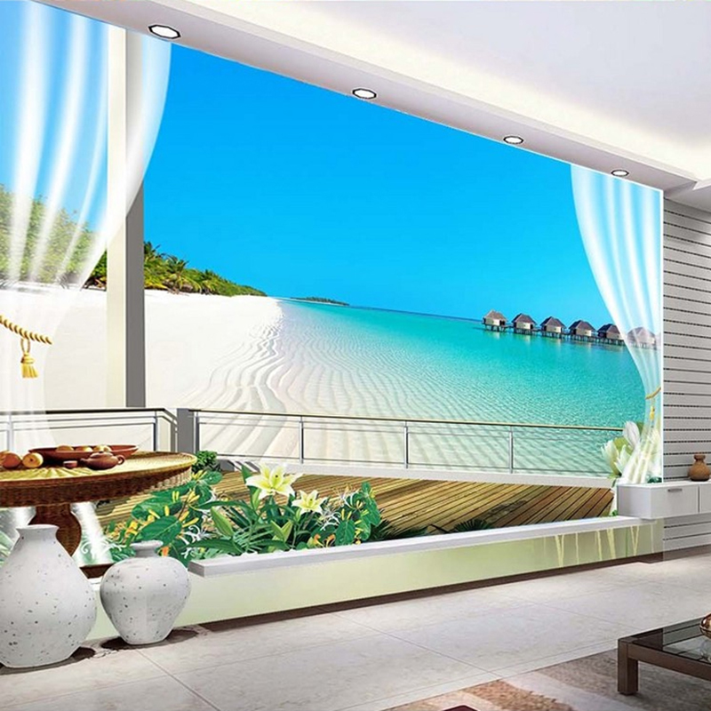 Custom 3D Photo Wallpaper Murals Maldives 3D Stereoscopic Window Balcony Beach Sea View Backdrop Wall Mural Non-woven Wallpaper