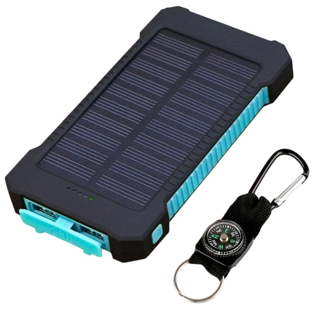 10000mAh Power bank Dual USB Solar Power Bank Portable Waterproof powerbank 10000 mah External Battery Charger for iPhone