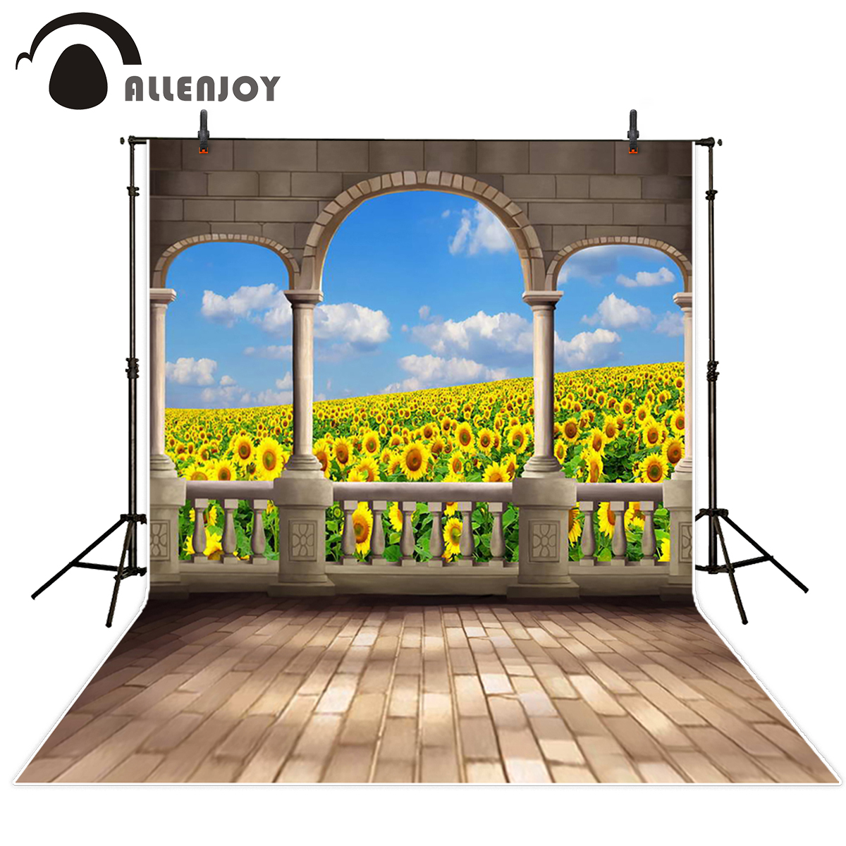 Allenjoy photography backdrop sunflower fence brick backdrops photography background for photo studio fantasy background good quality metal case face waterproof rfid card access controller with keypad 2000 users door access control reader