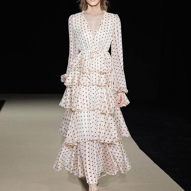 f8e3c492afacd US $67.99 15% OFF HIGH QUALITY Newest Fashion 2018 Stylish Designer Runway  Dress Women's Long Sleeve V neck Dot Cascading Ruffle Long Dress-in Dresses  ...