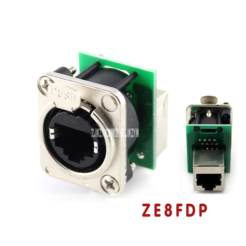 10pcs/lot Good Quality D-type Module RJ45 Socket Network Cable Connector Panel Mount Jack Chassis Panel Mount Connector ZE8FDP