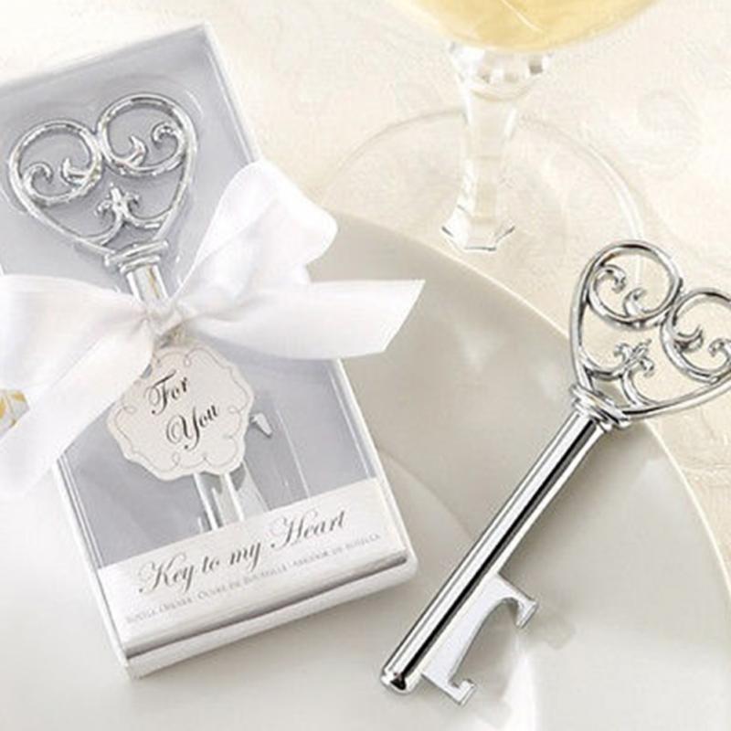 Hot Prodej Vintage klíč tvar Pivo láhev otvírák Svatební strana Favor Decor Svatební sprcha dárek 80 PCS Doprava zdarma